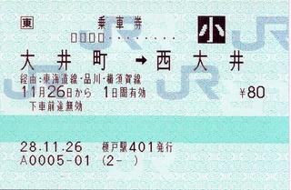 大井町⇒西大井 経由:東海道線・品川