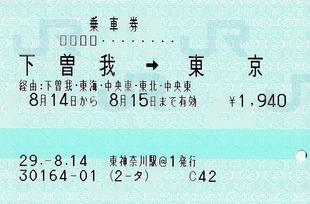 下曽我⇒東京 85ミリ