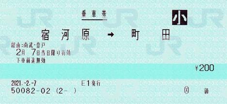 宿河原⇒町田 額 2021.-2.-7 -