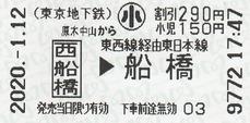 原木中山から西船橋⇒船橋 2020.-1.12