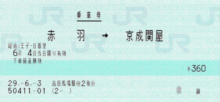 赤羽⇒京成関屋 経由:王子・日暮里