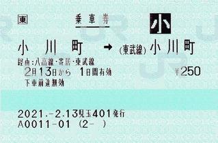 小川町⇒(東武線)小川町 2021.-2.13