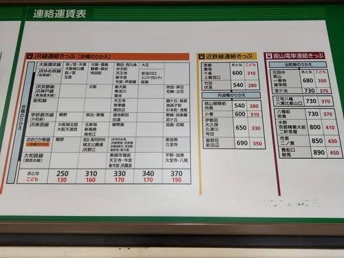 京阪野江駅運賃表