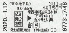原木中山から西船橋⇒下総中山 2020.-1.12