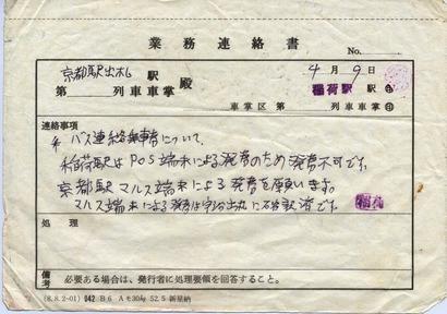 業務連絡書 稲荷駅