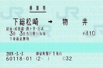 下総松崎⇒物井 経由成田線・酒々井・総武