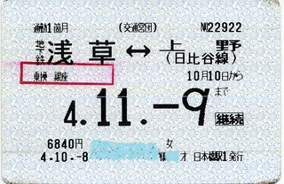勤定� 地下鉄浅草↔上野(日比谷線)