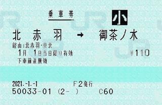北赤羽⇒御茶ノ水 経由赤羽・東北 2021.-1.-1 -