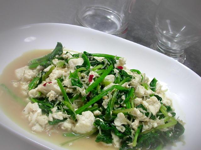ほうれん草と豆腐のピリ辛ジャコ炒め