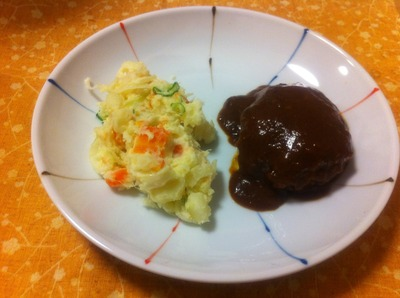 ポテトサラダと煮込みハンバーグ