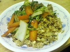 20100210自炊部餡かけ野菜炒めチャーハン