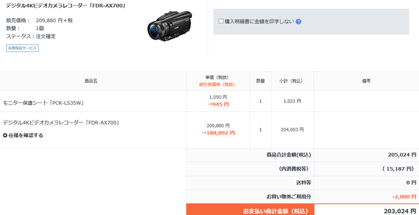 FDR-AX100購入