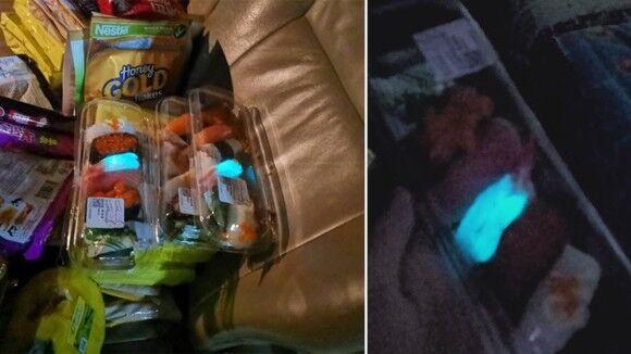 スーパーで購入したパック寿司のエビが青い蛍光色に光っていた件(タイ)