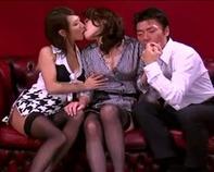 【ハーレムレズ逆3P】女豹なレズビアン痴女カップルとM男おっさんとの官能的なスローセックスがチンコにじわじわきますww