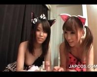 【ハーレム逆3P】猫耳ロリ萌え美少女2人と夢のような逆3Pハーレムセックス69アナル舐めで暴発発射ww