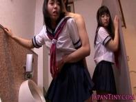 【パイパン女子高生】パイパンでレズビアンなセーラー女子高生2人と夢のハーレム着衣セクロスww