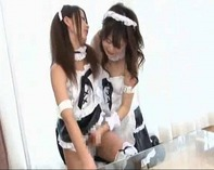 【ふたなり萌えメイド】チンコが生えたレズビアンふたなり萌えメイドちゃんがが強制手コキでものすごい量のザーメン発射ww