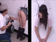 【中出し3Pレイプ】壁にはまって出られない上原亜衣ちゃんの上下のお口にぶち込んで犯しり中出しレイプ犯し放題ww