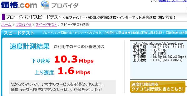 スターバックス赤坂見附店内でのUQ WiMAX速度