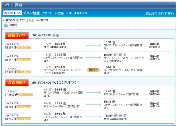 ウユニ デルタ Timetable