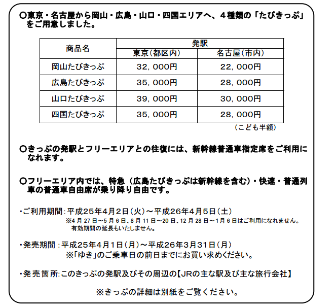 JR お得な切符中四国地方