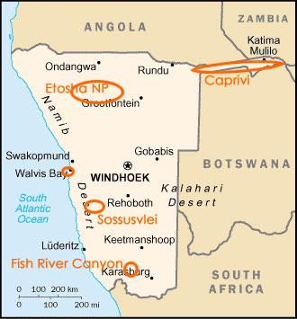 ナミビア キャニオン 地図
