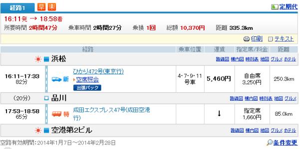 浜松→成田 NEX