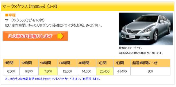ジャパンレンタカー5 マークX