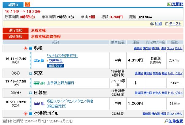 浜松→成田 京成普通