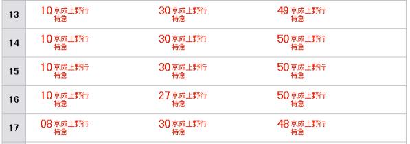 成田 13時 京成本線