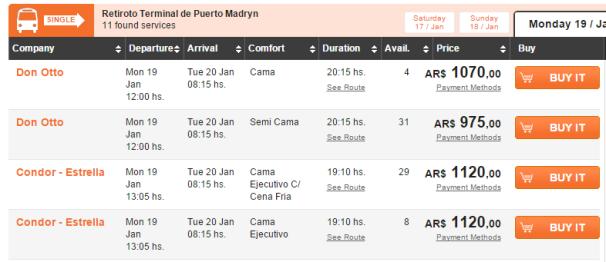 南米5 ブエノスアイレス→プエルト・マドリン