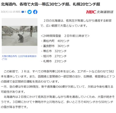 北海道 大雪