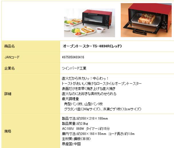 健保 景品交換 トースター詳細