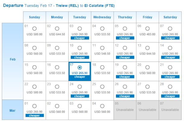 南米4 ブエノスアイレス→トレリュー2 アルゼンチン航空