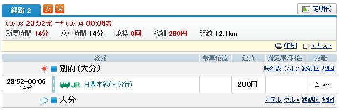 大分 終電 別府→大分