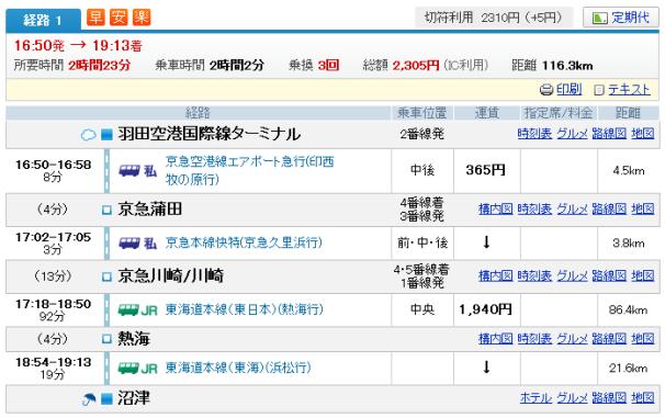 羽田空港→川崎→沼津1