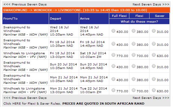Inter cape LVI-Swakopund price