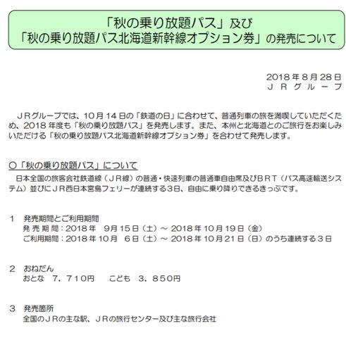 JR秋のフリーきっぷ