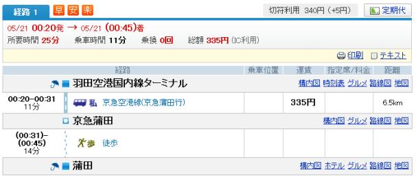 羽田 深夜 空港→蒲田