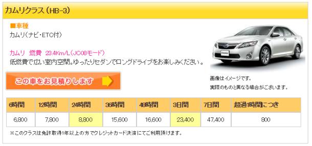 ジャパンレンタカー3 カムリ