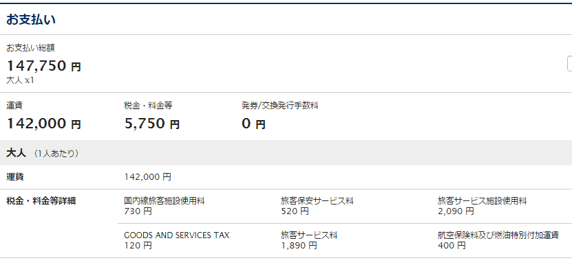 海外発券情報 6 値段