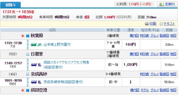 秋葉原→成田0