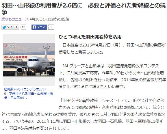 航空ニュース1 羽田と山形