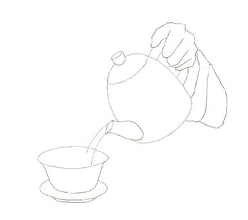 蓋碗にケトルのお湯を注ぐ