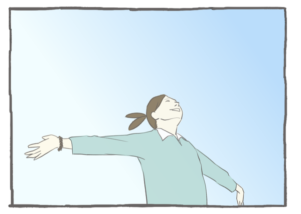 両手広げる