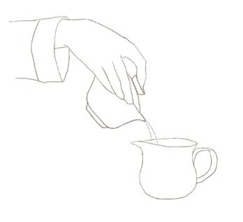 蓋碗から茶海にお湯を移す