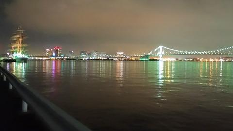 豊海水産埠頭から見えるレインボーブリッジ