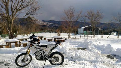 山梨 バイク 雪上 WR250R