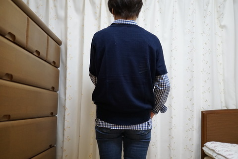 MUJIブルーチェックシャツ3