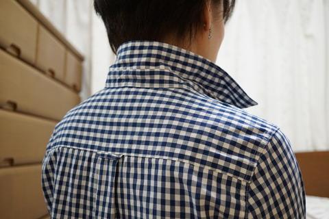MUJIブルーチェックシャツ12